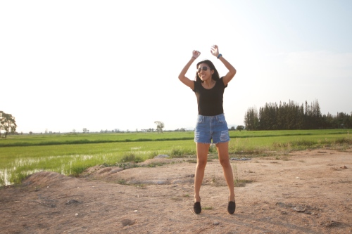 jumping for joy in nature